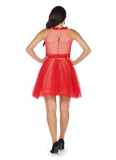 6ixty8ight Kırmızı Tüllü Çiçekli Kısa Abiye Elbise Kırmızı
